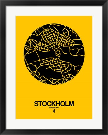 Framed Stockholm Street Map Yellow Print