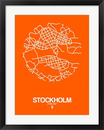 Framed Stockholm Street Map Orange Print