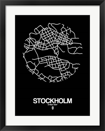 Framed Stockholm Street Map Black Print