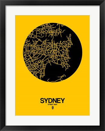 Framed Sydney Street Map Yellow Print