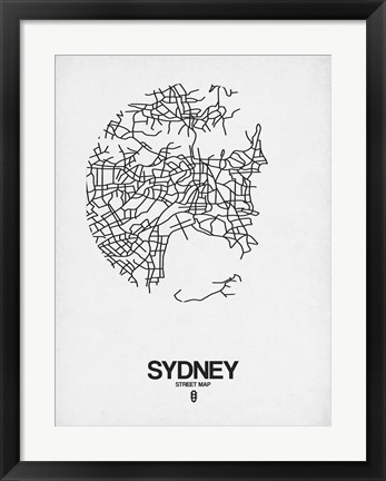 Framed Sydney Street Map White Print