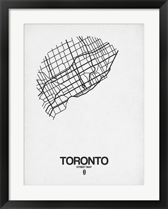 Framed Toronto Street Map White Print