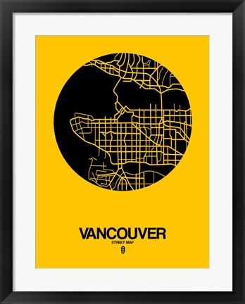 Framed Vancouver Street Map Yellow Print