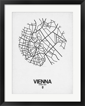 Framed Vienna Street Map White Print