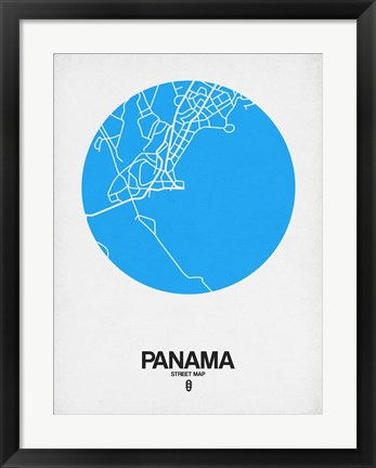 Framed Panama Street Map Blue Print