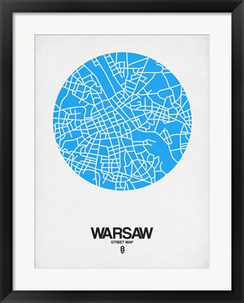Framed Warsaw Street Map Blue Print
