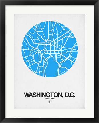 Framed Washington DC Street Map Blue Print