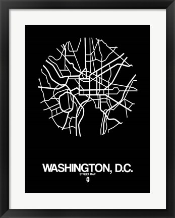 Framed Washington DC  Street Map Black Print