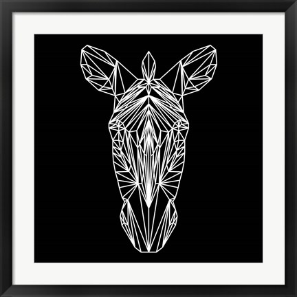 Framed Zebra on Black Print