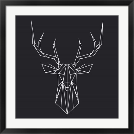 Framed Deer Polygon Print