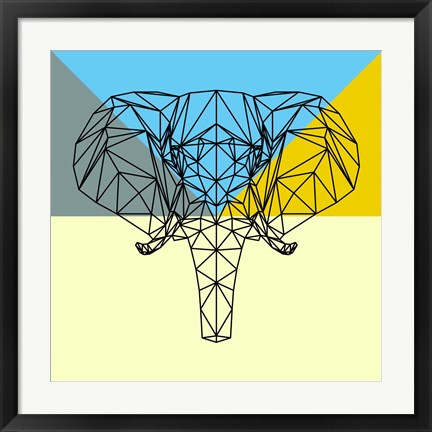 Framed Party Elephant Polygon Print