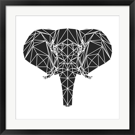 Framed Black Elephant Polygon Print