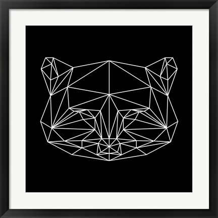 Framed Black Raccoon Polygon Print