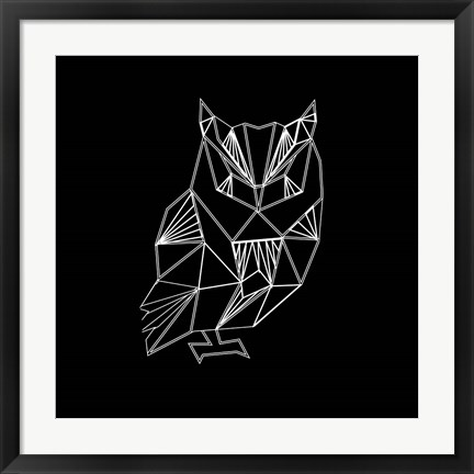 Framed Owl Polygon Print