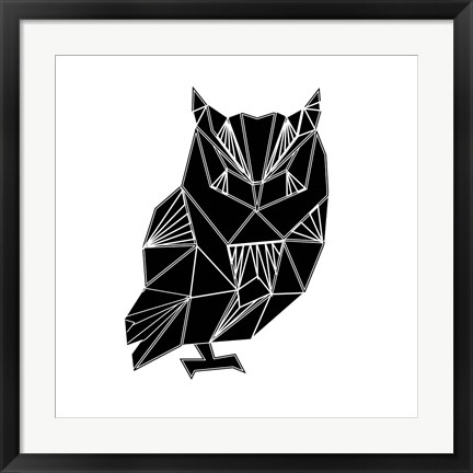 Framed Black Owl Polygon Print