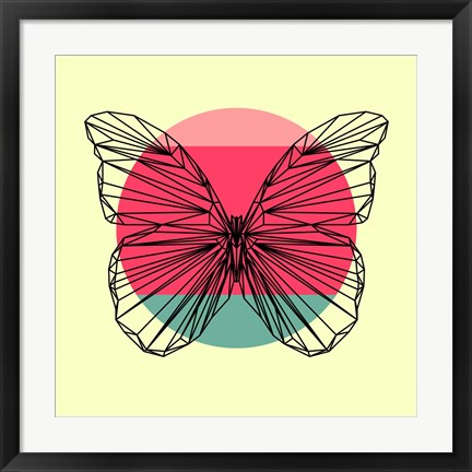 Framed Butterfly and Sunset Print