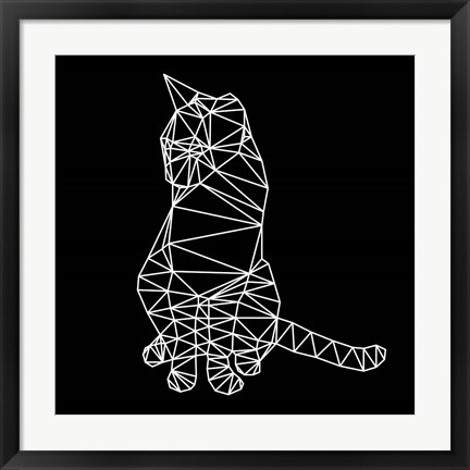 Framed Smart Cat Polygon Print