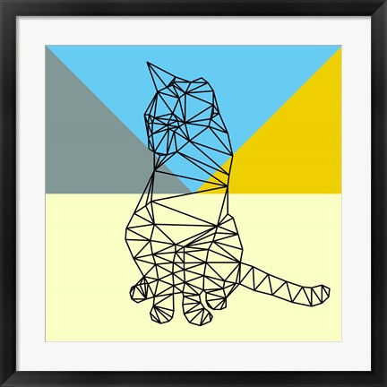 Framed Black Party Cat Polygon Print