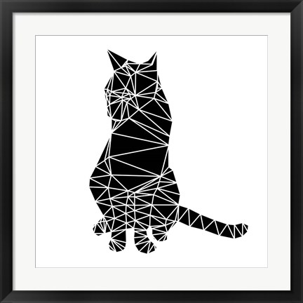 Framed Smart Black Cat Polygon Print