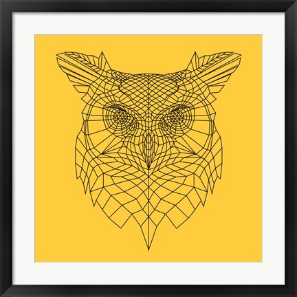 Framed Yellow Owl Mesh Print