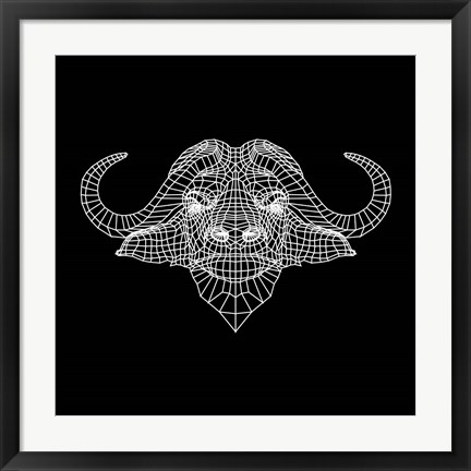 Framed Black Buffalo Mesh Print