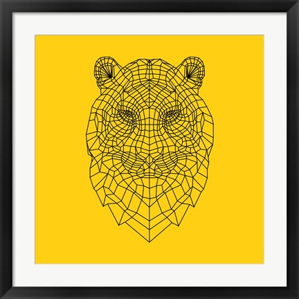Framed Tiger Head Yellow Mesh Print