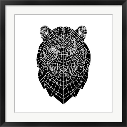 Framed Black Tiger Head Print