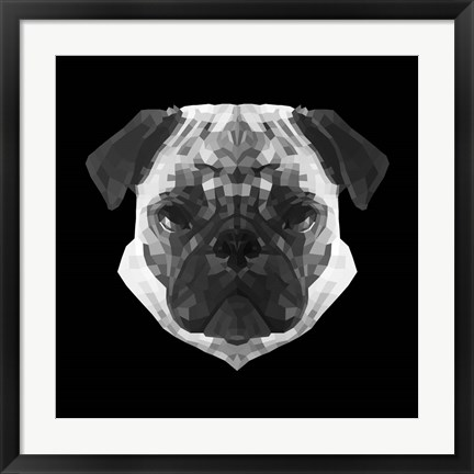 Framed Pug Head Print