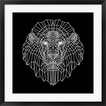Framed Lion Head Black Mesh Print