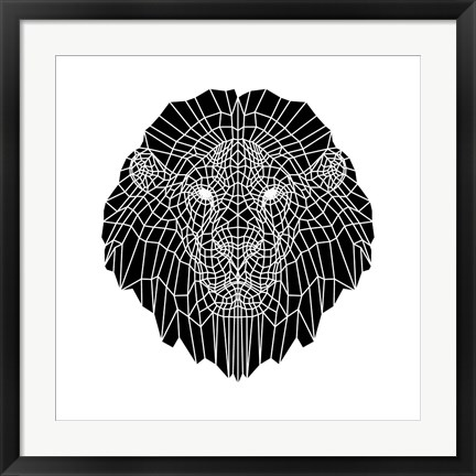 Framed Lion Head Black Mesh 2 Print