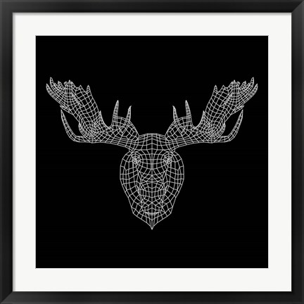 Framed Moose Head Black Mesh Print