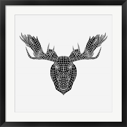 Framed Moose Head Mesh Print