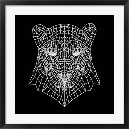 Framed Panther Head Black Mesh Print