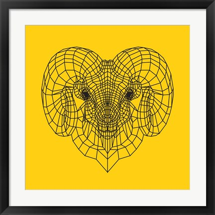 Framed Ram Head Yellow Mesh Print