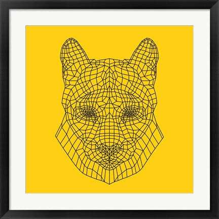 Framed Mountain Lion Yellow Mesh Print
