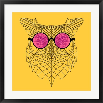Framed Owl in Pink Glasses Print