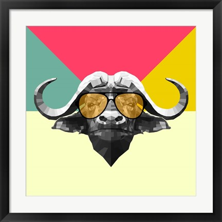 Framed Party Buffalo in Glasses Print