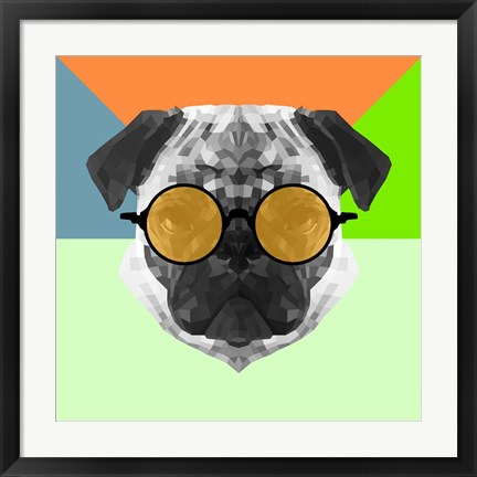 Framed Party Pug in Yellow Glasses Print