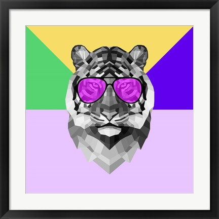 Framed Party Tiger in Glasses Print