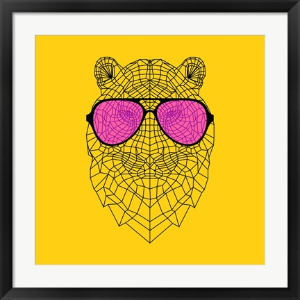 Framed Tiger in Pink Glasses Print