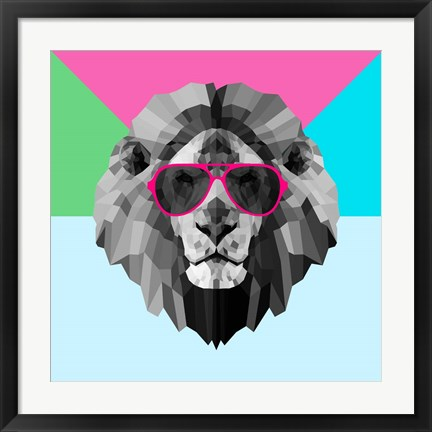 Framed Party Lion in Red Glasses Print