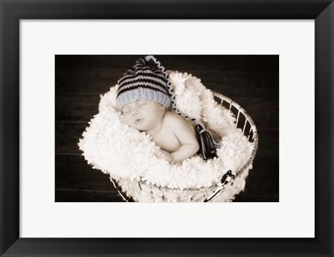 Framed Baby in Wire Basket Print