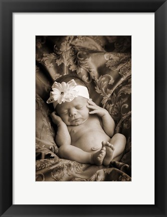 Framed Baby in Sepia 2 Print