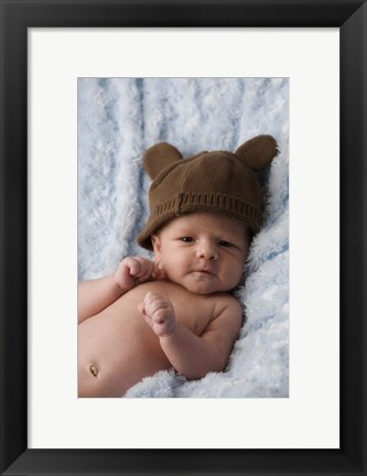 Framed Baby with Brown Hat Print