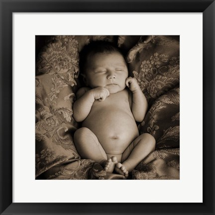 Framed Baby in Sepia 1 Print