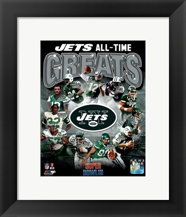 Framed New York Jets All Time Greats Composite Print