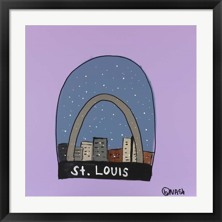 Framed St. Louis Snow Globe Print