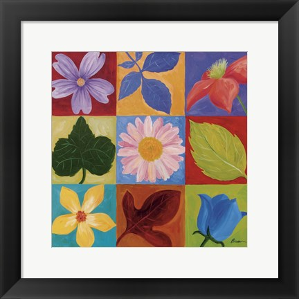 Framed Flowers And Leaves Print