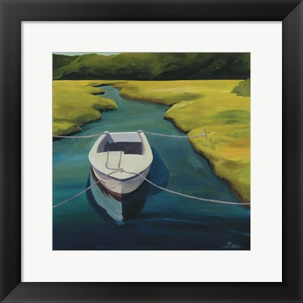 Framed Boat In Cove Print