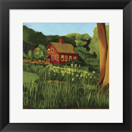 Framed Red Houseon Pine Street Print